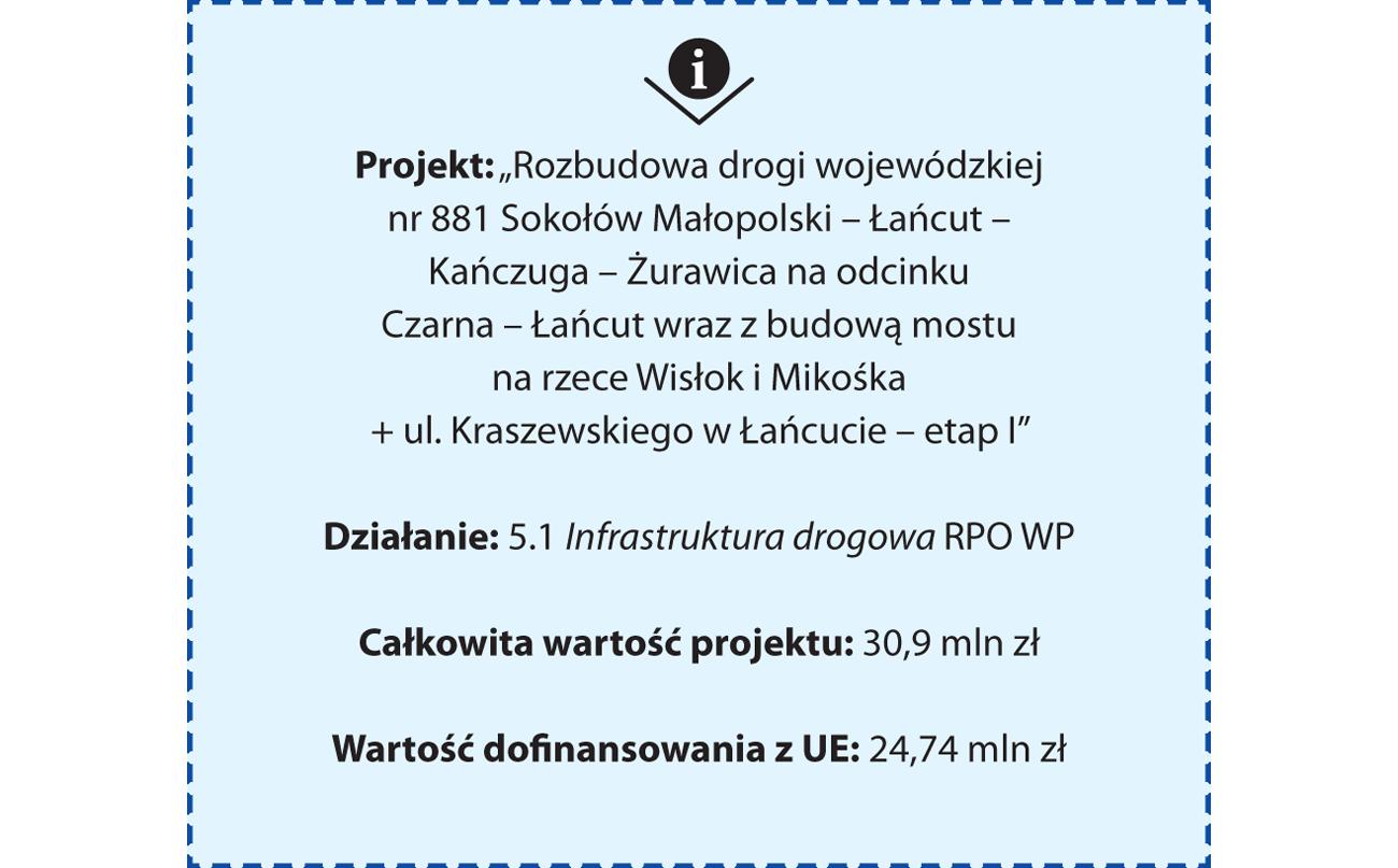 """Projekt: """"Rozbudowa drogi wojewódzkiej nr 881 Sokołów Małopolski – Łańcut – Kańczuga – Żurawica na odcinku Czarna – Łańcut wraz z budową mostu na rzece Wisłok i Mikośka + ul. Kraszewskiego w Łańcucie – etap I"""". Działanie: 5.1 Infrastruktura drogowa RPO WP. Całkowita wartość projektu: 30,9 mln zł. Wartość dofinansowania z UE: 24,74 mln zł"""