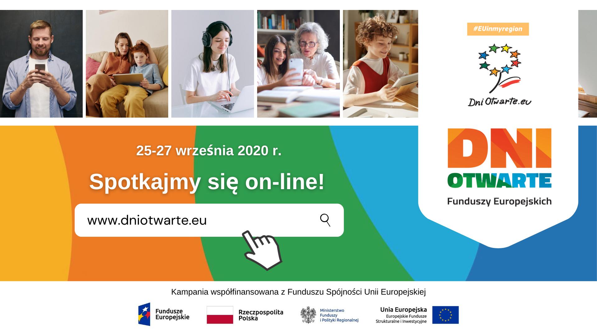 baner reklamujacy Dni Otwarte Funduszy Europejskich z podaną stroną do logowania. Na górze 5 zdjęć osób.