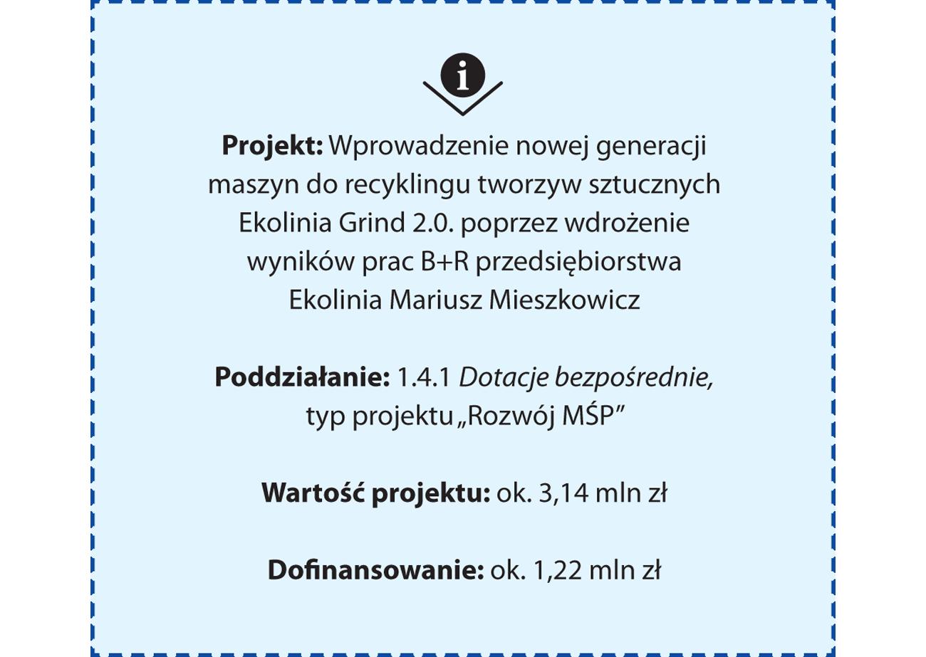 Projekt: Wprowadzenie nowej generacji maszyn do recyklingu tworzyw sztucznych Ekolinia Grind 2.0. poprzez wdrożenie wyników prac B+R przedsiębiorstwa Ekolinia Mariusz Mieszkowicz Poddziałanie: 1.4.1 Dotacje bezpośrednie typu projektu Rozwój MŚP Wartość projektu: ok. 3,14 mln zł Dofinansowanie: ok. 1,22 mln zł
