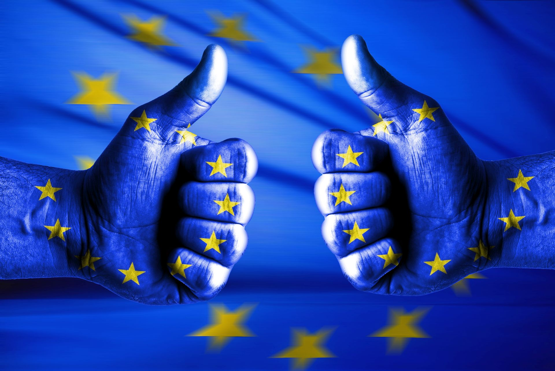 na tle flagi unijnej (niebieskiej w złote gwiazdki) kciuki uniesione w górę, symbolizujące: lubię Unię