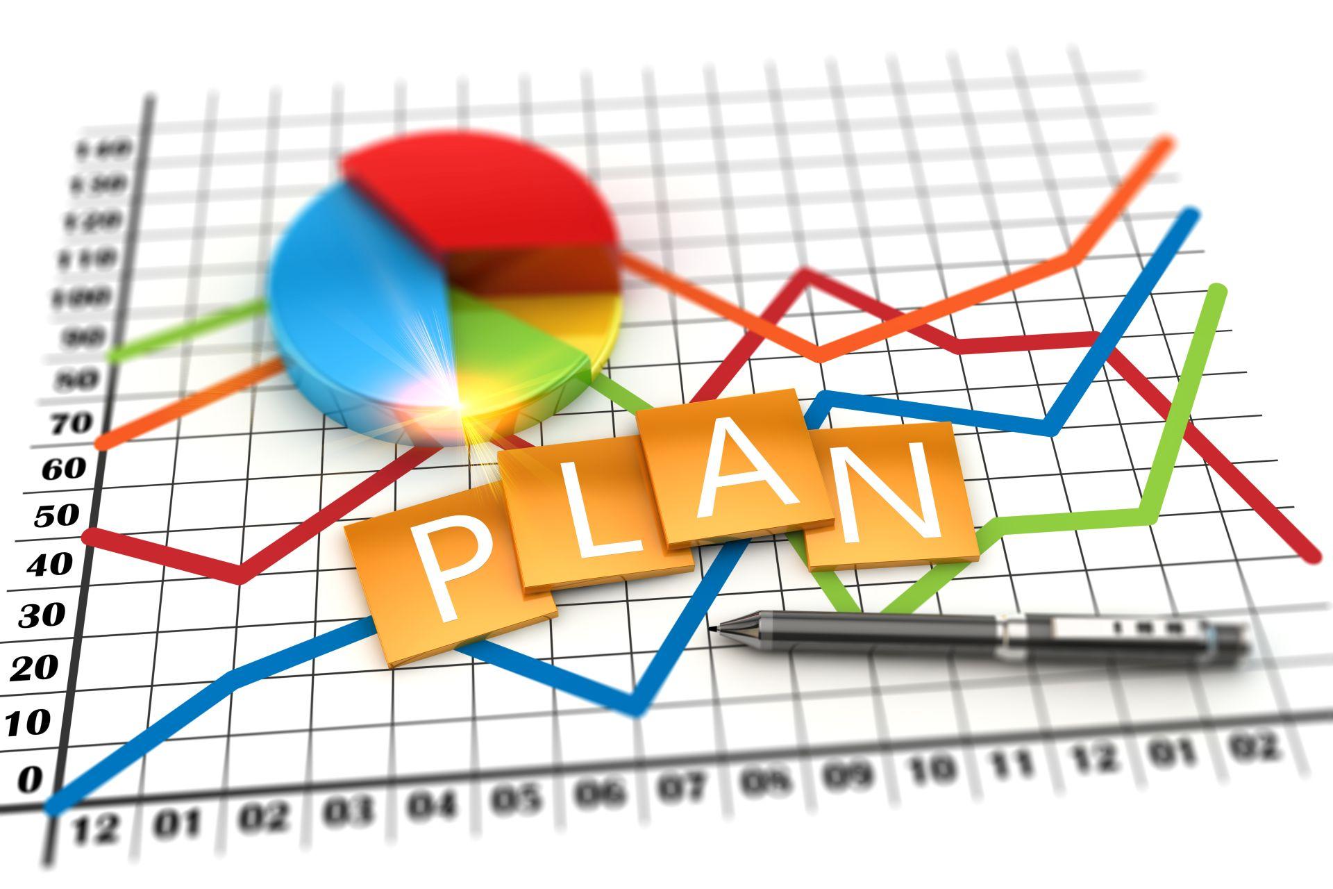 ilustracja, koncepcja finansowa, wykres ekonomii planowania korporacyjnego. Dane finansowe w gospodarce światowej