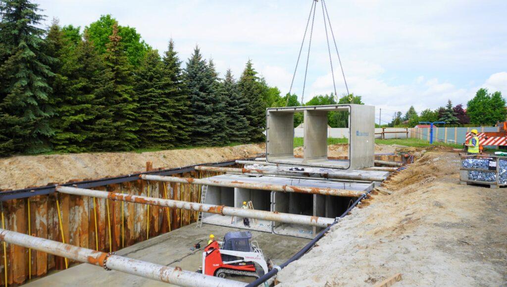 budowa podziemnego zbiornika retencyjnego w Mielcu